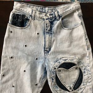 Vintage Traffic Jeans 80's Acid Heart sz 2 / 4